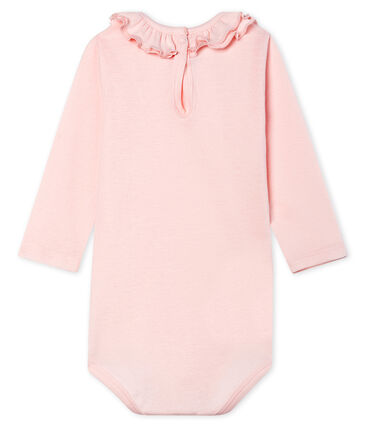 Long-sleeved bodysuit with ruff collar for baby girls Fleur pink