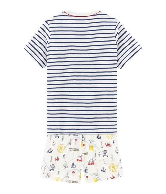 Boys' Ribbed Cropped Pyjamas Marshmallow white / Multico white