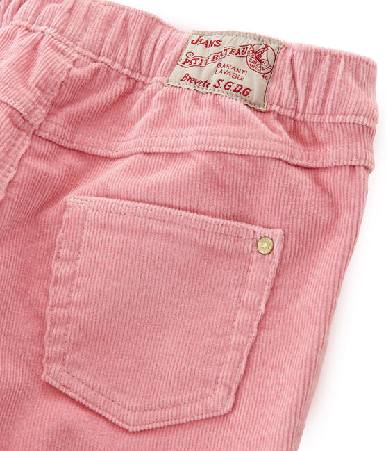 Girls' Slim-Fit Velour Trousers Charme pink