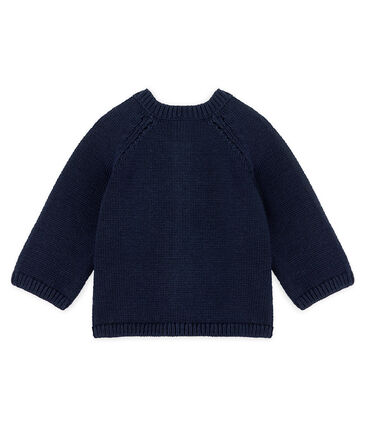 Baby Girls' Wool/Cotton Knit Cardigan Smoking blue / Multico white