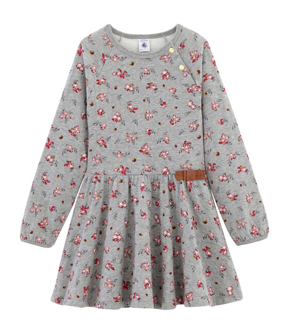 Girls' Print Dress Beluga grey / Multico white