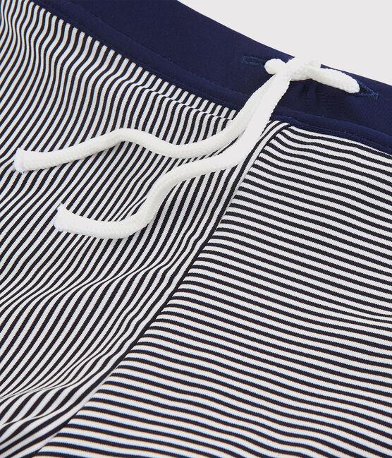 Boys' Stripy Swimming Trunks Abysse blue / Lait white