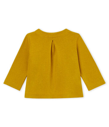 Baby girls' cotton/linen cardigan Bamboo yellow