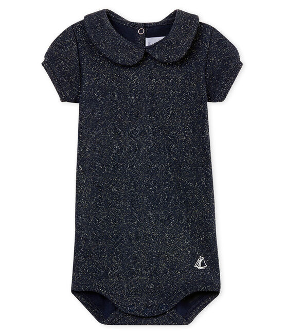 Baby girls' shiny bodysuit with peter pan collar Smoking blue / Or yellow
