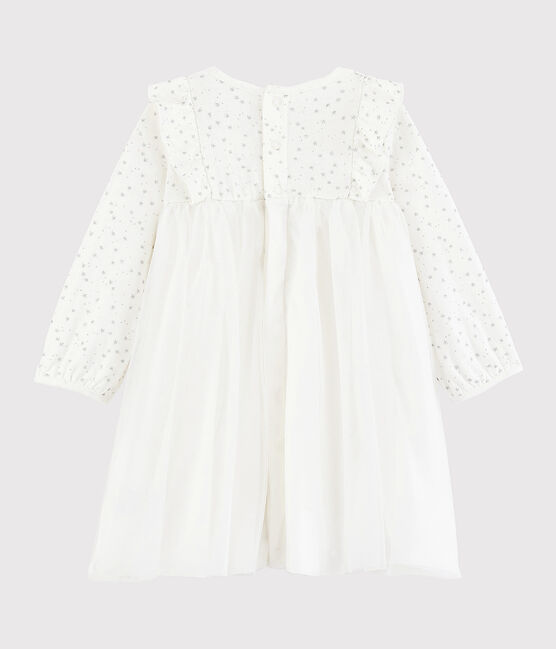 Baby girl's long-sleeved dress Marshmallow white / Argent grey