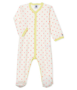 Baby Girls' Ribbed Sleepsuit Marshmallow white / Gretel pink