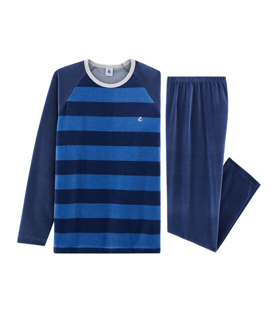 Boys' Velour Pyjamas Medieval blue / Major blue