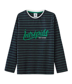 Boys' Long-Sleeved T-shirt Smoking blue / Sousbois green