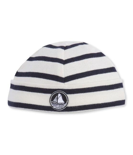 Babies' unisex hat with sailor stripes Coquille beige / Smoking blue