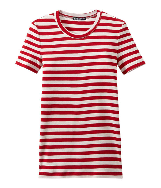 Women's T-shirt in heritage striped rib Terkuit red / Marshmallow white