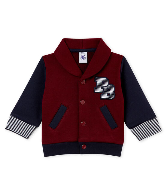 Baby boy's cotton sweatshirt cardigan Ogre red / Smoking blue