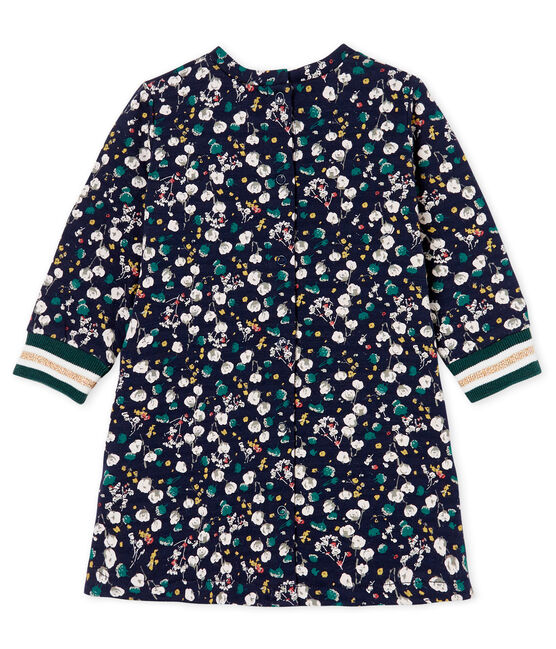 Baby Girls' Long-Sleeved Print Dress Smoking blue / Multico white