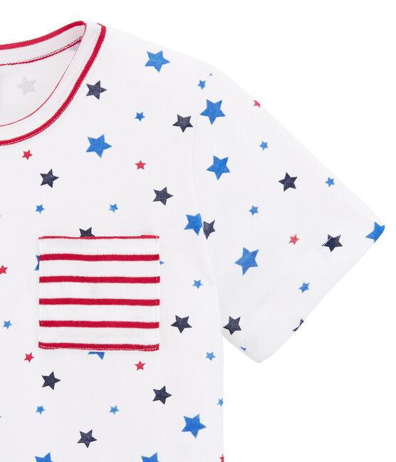 Boy's print and striped shortie pyjamas Marshmallow white / Multico white