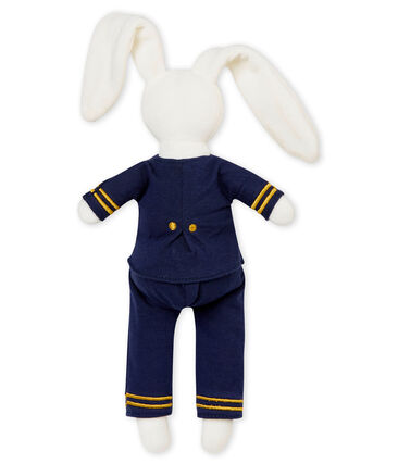 Sailor rabbit comforter Marshmallow white / Smoking blue