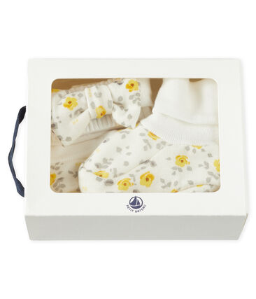 Baby Girls' Headband and Bootees Set in Wool/Cotton . set