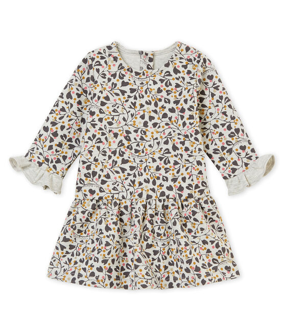 Baby girl's print dress Beluga grey / Multico white