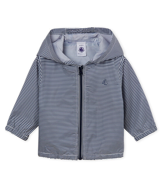 Unisex stripy windbreaker for babies Smoking blue / Marshmallow white