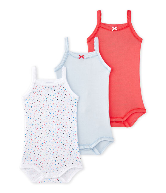 Girls in bodysuits pics Set Of 3 Baby Girls Bodysuits With Straps Special Lot 00 Petit Bateau