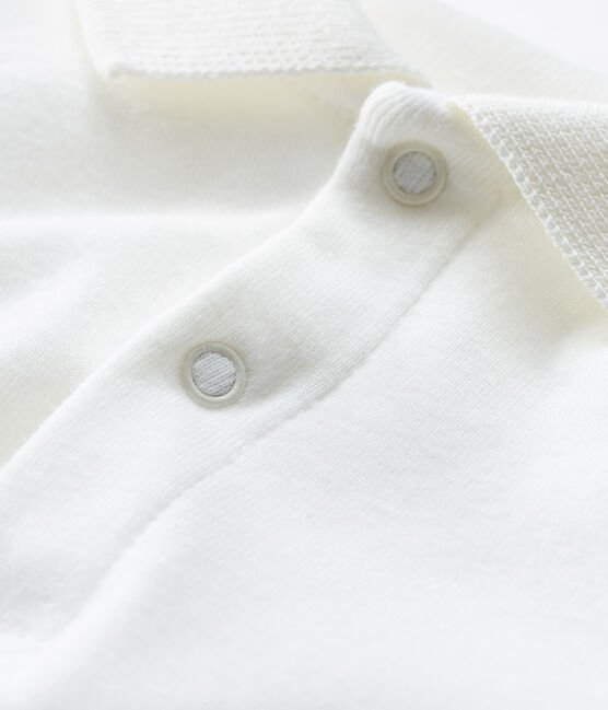 Baby Boys' Long-Sleeved Polo Shirt with Collar Marshmallow white