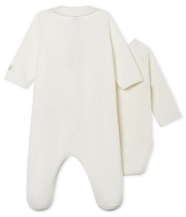 Babies' Zip-Up Velour Sleepsuit Marshmallow white