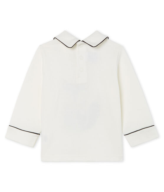 Baby Boys' Long-Sleeved T-Shirt with Collar Marshmallow white