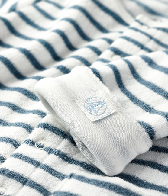 Babies' Unisex Long Striped Jumpsuit in Extra Warm Brushed Terry Marshmallow white / Astro blue