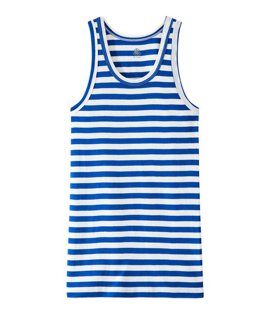 Women's vest top in heritage striped rib Perse blue / Marshmallow white