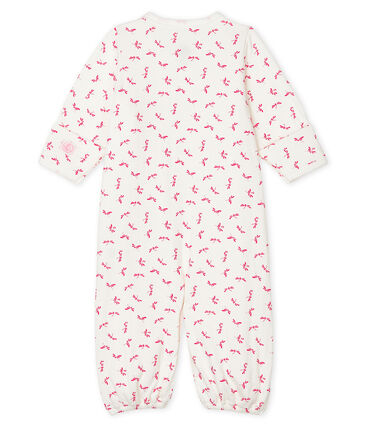 Babies' Ribbed Jumpsuit/Sleeping Bag Marshmallow white / Groseiller pink