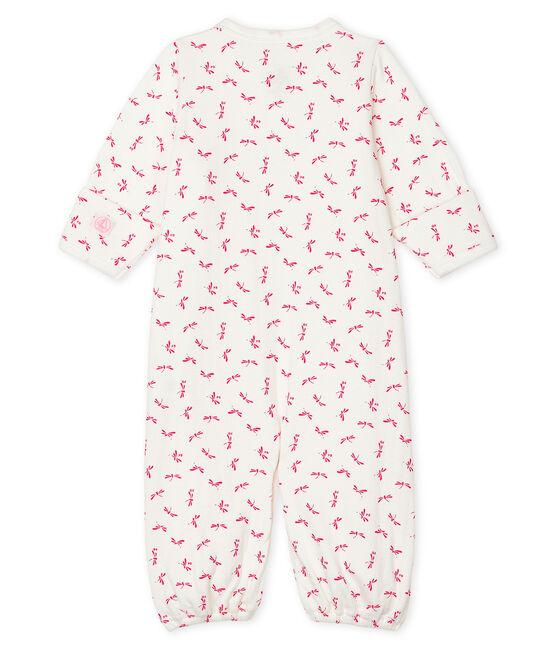 Babies' Ribbed Jumpsuit/Sleeping Bag Marshmallow white / Groseiller pink