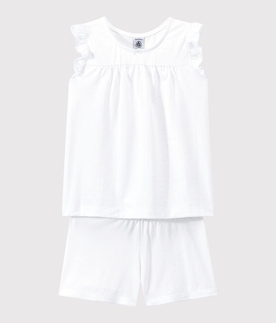 Girls' Fine Cotton Short Pyjamas Ecume white