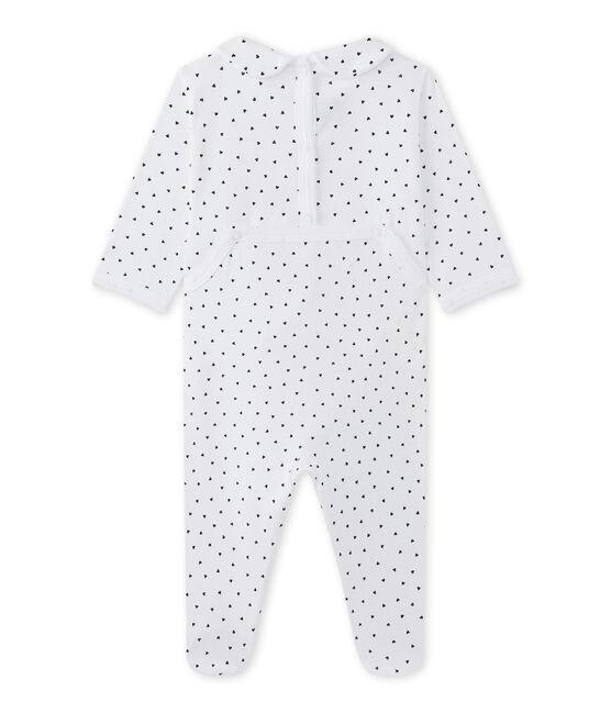 Baby girl's heart-print sleepsuit Ecume white / Medieval blue