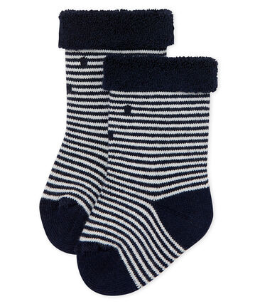 Unisex baby's high socks with towelling inside