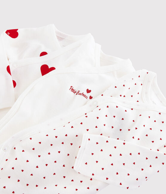 Babies' Long-sleeved Wrapover Red Hearts Organic Cotton Bodysuits - 3-Pack . set