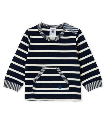 Baby Boys' Striped Long-Sleeved T-Shirt Smoking blue / Marshmallow white