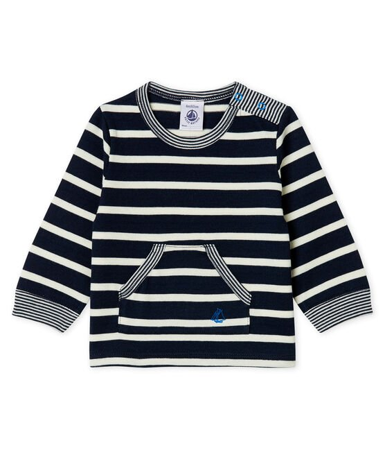 Baby Boys' Striped Long-Sleeved T-Shirt Smoking blue / Marshmallow white