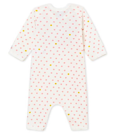Baby girl's footless sleepsuit and bib Marshmallow white / Multico white