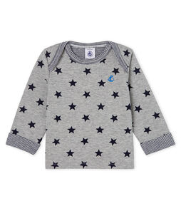 Baby Boys' Long-Sleeved Printed T-Shirt Subway grey / Smoking blue