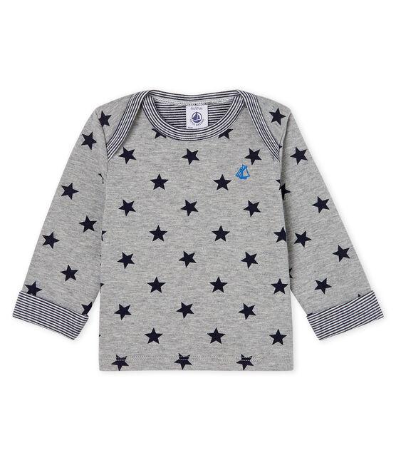 Baby Boys' Long-Sleeved Printed T-Shirt Subway grey / Smoking blue