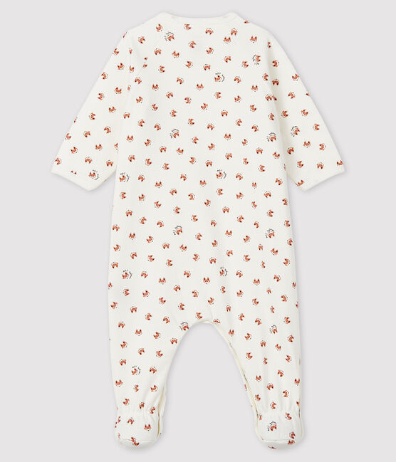 Babies' Fox Print Fleece Sleepsuit Marshmallow white / Multico white