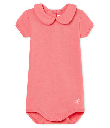 Baby girls' shiny bodysuit with peter pan collar Cupcake pink / Copper pink