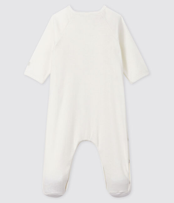 Baby's White Organic Cotton Sleepsuit Marshmallow white