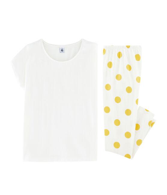 Girls' Ribbed Pyjamas Marshmallow white / Ble yellow