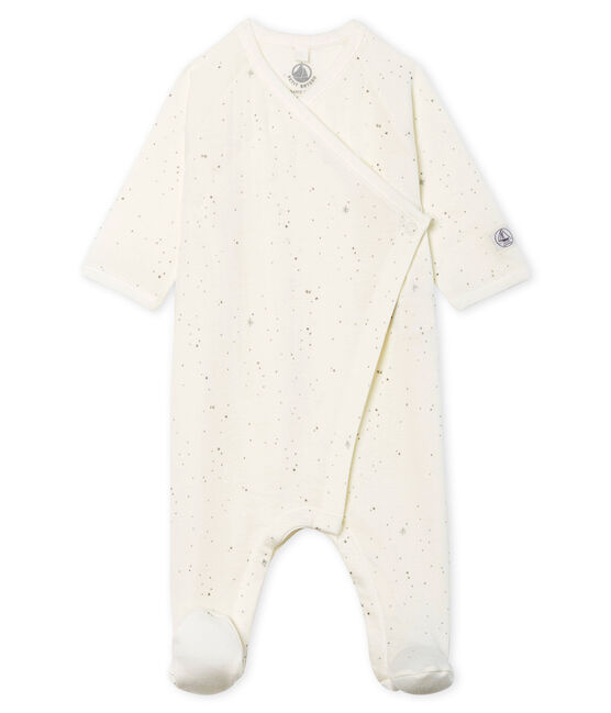 Babies' Tube Knit Sleepsuit Marshmallow white / Multico Cn white