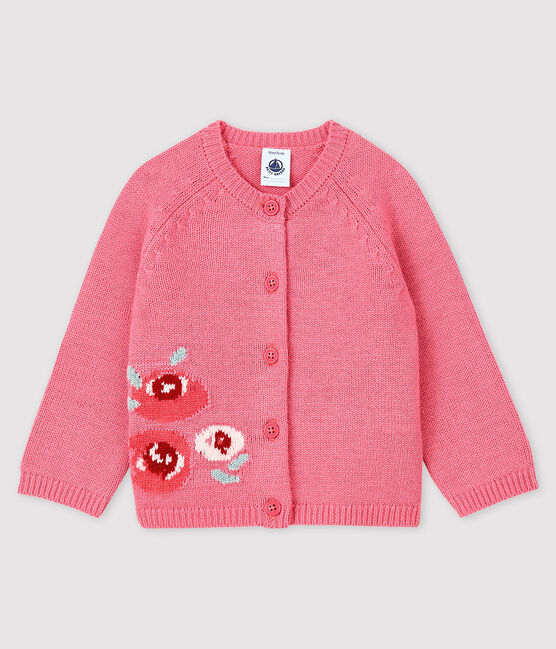 Baby girl's cardigan with print Cheek pink