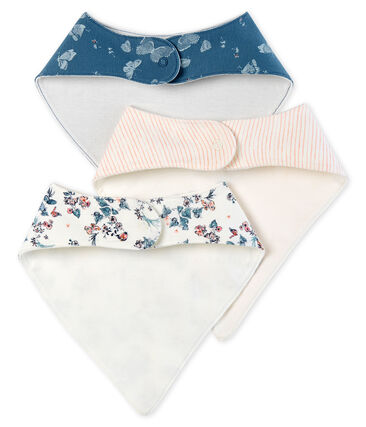 Baby Girls' Bibs in Cotton - Set of 3