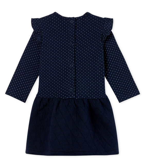 Baby Girls' Long-Sleeved Dual Material Dress Smoking blue / Marshmallow white