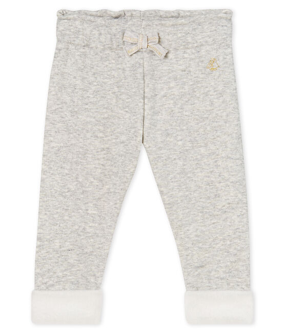 Baby Girls' Velour Knit Trousers Beluga Chine grey