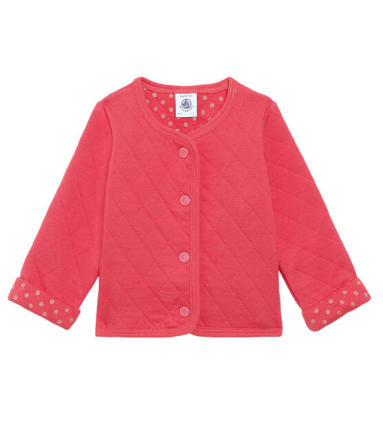 Baby Girls' Quilted Tube Knit Cardigan Signal red