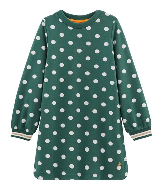 Girls' Print Dress Sousbois green / Marshmallow white