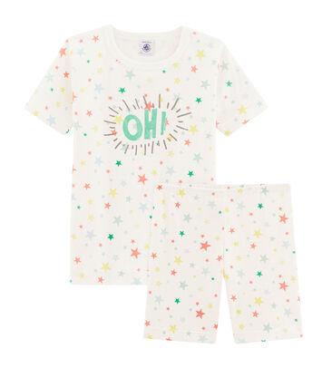 Boys' Snugfit Short Pyjamas Marshmallow white / Multico white